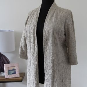 Eileen Fisher Patterned, Silk MidLength Blazer- XL